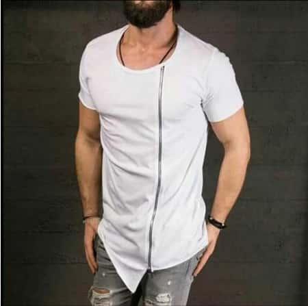 Переделка мужской футболки молниями